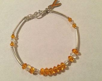 MS Awareness Bracelet, Beaded Bracelet, Leukemia Awareness Bracelet, CRPS Awareness Bracelet with orange ribbon charm