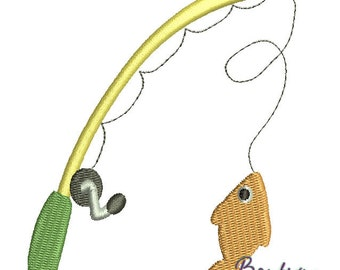 Fishing Pole Embroidery Design - Instant Download