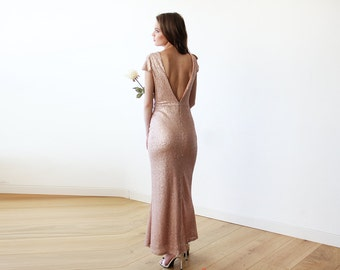 Pink Short Sleeve Sequin Maxi Gown With An Open Back 1117
