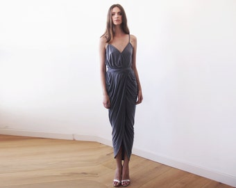 Wrap maxi grey bridesmaids gown, Urban grey tulip maxi gown 1033