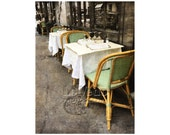 Paris Bistro, Sidewalk Café, Rattan Chairs, Paris Photography, Shabby Chic, French Bistro, Travel Photography