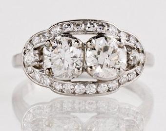 Antique Engagement Ring - Antique Platinum 1920s 2-Stone Diamond Engagement Ring
