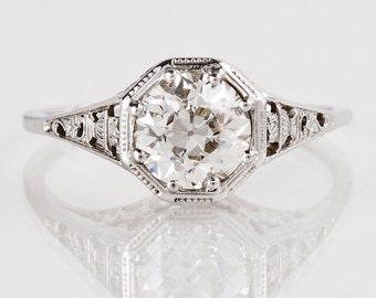 Antique Engagement Ring - Antique 1910's 18K White Gold Diamond Engagement Ring