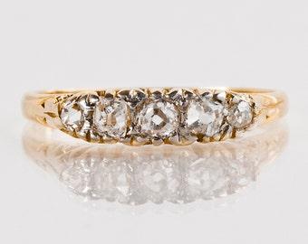 Antique Wedding Band - Antique 1900s 18k Yellow Gold Mine-Cut Diamond Wedding Band
