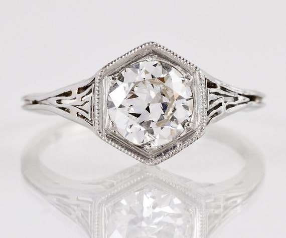 SALE - Antique Engagement Ring - Antique 1920s 18K White Gold Diamond Engagement Ring