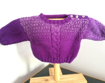 Hand knitted size 00 jumper dark purple fleck mix coloured - 3-6 months 100% pure wool
