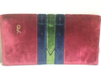 80's Vintage Roberta di Camerino velvet, chenille clutch with Iconic red, navy and green colors and golden R logo motif.
