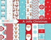 50% OFF SALE Digital Paper - Jolly Christmas - Instant Download