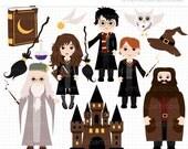 ON SALE - School of Wizardry / Wizards Clip Art / Digital Clipart - Instant Download