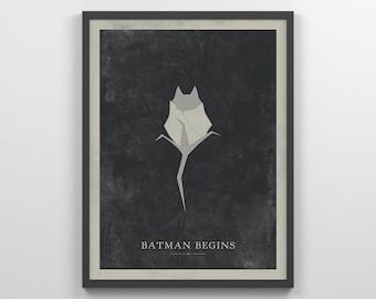 Retro Batman Begins ~ Minimal Movie Poster, Retro Minimalist Art Print by Christopher Conner
