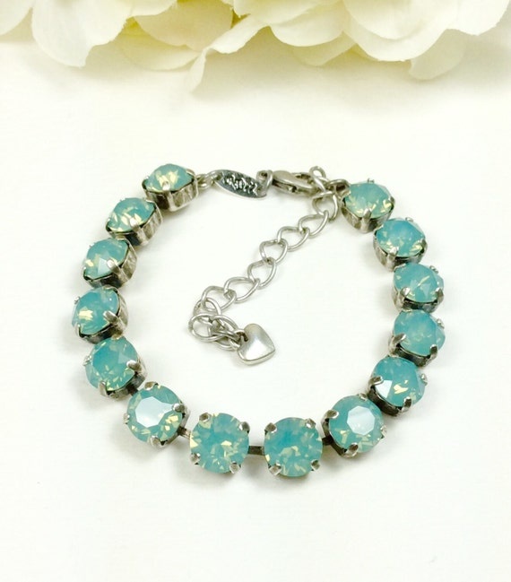 Swarovski Crystal 8.5mm Bracelet  Gorgeous Pacific Opal -  Perfect Bridesmaid Gift - Designer Inspired   FREE SHIPPING