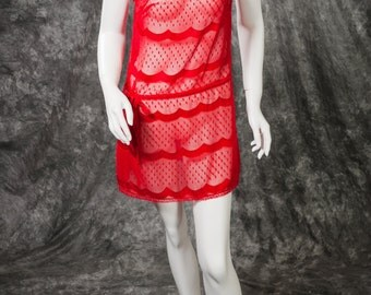"Vintage Lanvin Lingerie Nightgown Short Sheer Red RARE 70s ""Lanvin for Lord and Taylor"" Size Petite"