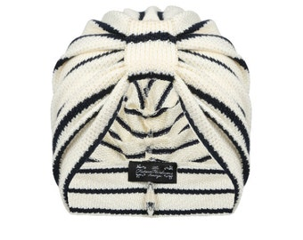 Brooke Stripe knitted turban