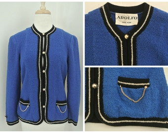 vtg ADOLFO Blue Boucle wool Cardigan jacket M L chain trim