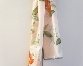 Silk scarf hand painted Wedding accessory Bridal Roses scarves - made TO ORDER