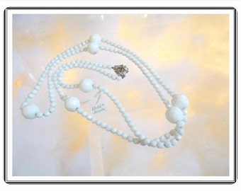 Vintage Hobe Demi - Milk White Bead Necklace - Beaded Opera Length Necklace w Original TAGs   Neck-2831c-091414005