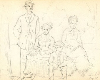 1881, Harbor Hill, Long Island, Original Antique Pencil Drawing, Four Figures, by Anna Lindner