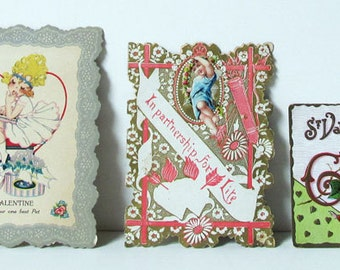 Valentine Love Package Hankies and Cards 1920s and Victorian: 8 Items in All