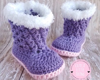 Baby Girl Boots, UGG, Baby Girl Booties, Crochet Booties, Baby Boots, Purple Booties, Baby UGG Booties, Crochet Baby Boots