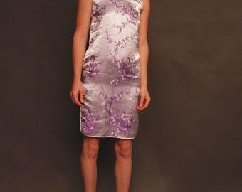 90s small light purple Cheongsam Chinese mini dress with mandarin collar with high leg slit on both sides