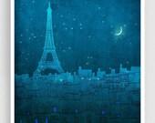 20% OFF SALE: The Eiffel tower in PARIS - Paris illustration Art Illustration Print Poster Paris Art Paris decor Home decor Architecture Blu