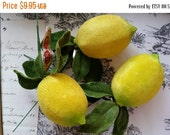 HUGE SALE Gorgeous Vintage Velour Lemon Fruit Picks | Deadstock | LIMITED Supply