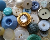 3 Doz. Antique and Vintage Button Lot No.408 | Shabby Chic | Glass, Rhinestone, Bakelite, MOP | Wedding Buttons | Aqua, Blue, White