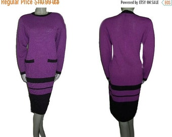 End of Summer Sale Vintage Don Sayres for Wellmore Saks Fifth Avenue Santana Knit Dress Amethyst Charcoal designer dress 80s dress