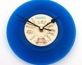 "MOTORHEAD ""Bomber"" Vinyl Record Clock. A recycled 7"" record in BLUE vinyl, Great gift for heavy metal loving men or women..."