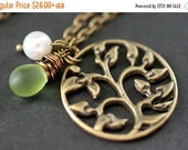 VALENTINE SALE Tree of Life Necklace. Tree Necklace. Leafy Brocade Necklace with Glass Teardrop and Pearl. Bronze Necklace. Handmade Necklac