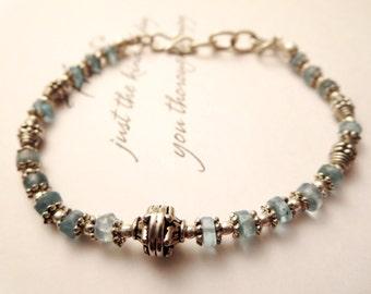 Apatite bracelet -Blue bead bracelet -blue gemstone jewelry