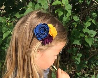 Flower Headband. Baby Headband. Headband. Purple. Mustard. Navy. Felt Flower Cluster. Flower Crown. Wool Felt Flower. HB1344