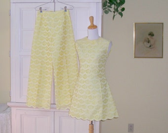 60's retro mini dress and pants set, yellow with yellow lace, wear together or separate, Lorie Deb San Francisco, dressy mod!