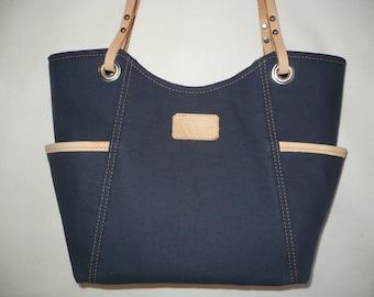 Navy blue hadmade handbag, Leather and Canvas, Canvas Purses, Medium Purses