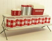 Vintage Spice Shelf, White and Red Painted Metal Cabinet Counter Hoosier Two Shelf Unit, Folding Legs