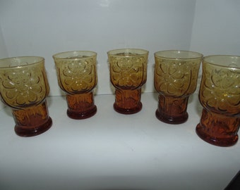 Vintage  Lot 5 Libbey Amber Glass juice Glasses Daisy Country Garden 10 oz