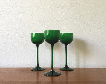 Vintage Carlo Moretti Murano Glass Stemmed Cordial Glass Set