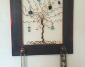Willow Tree Frame Wall Art Handmade Distressed Frame and Jewelry Organizer Distressed Brown - READY TO SHIP