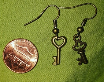 Tiny key earrings