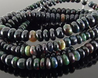 Black Opal Beads, Unfaceted Smooth Rondelles, Ethiopian Opal Beads, 3-6.5 mm, 9 in. Strand