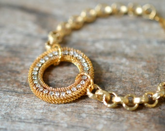 Bold gold circle bracelet Sparkling crystal rhinestone gold chain bracelet Contemporary geometric bracelet Holiday party jewelry