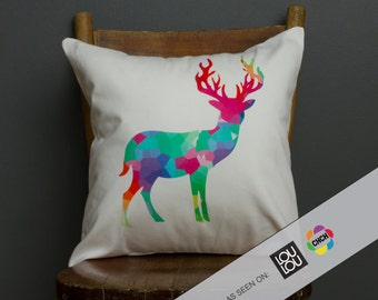 As Seen in LOULOU Magazine and on CHCH TV- Elk Print Pillow - Contemporary Decor - Geometric - Multicolour -16x16, Stag Deer Decor