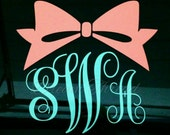 Bow Monogram Car, yeti Tumbler, cup, etc. Decal (made to order)