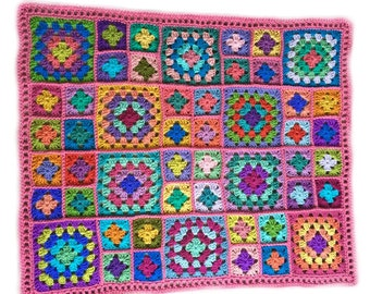 Crochet baby blanket crochet baby afghan granny square handmade 30 in. x 38 in. pink border READY TO SHIP