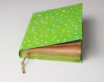 polka dots green - journal, diary, notebook, travel journal, colorful paper, green, batik fabric