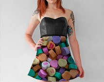 Conversation Hearts Skirt - slim and flared styles, candy wearable art, fine art photography limited edition fashion, Valentine's Day