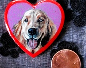 Valentine Golden Retriever Original Art Hand Made Heart Pin