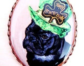 St Patrick's Day French Bulldog Original Copper Plate Pin