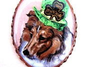 St Patrick's Day Shetland Sheepdog/Sheltie Original Copper Plate Pin