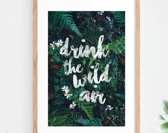 Typography Quote Printable Wall Art Tropical Instant Download Inspirational Quote Brush Script Modern Wall Art Printable Art Poster Digital